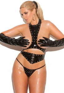 Open Cup Plus Size Studded Vinyl Lingerie Set