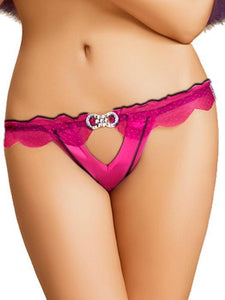 Simone Front Cut Out Fuchsia Thong