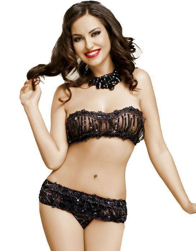 Yvette Sequined Black Bra Set