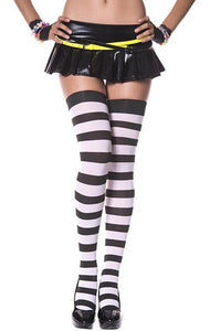 Striped Thigh High Stockings-White/Black