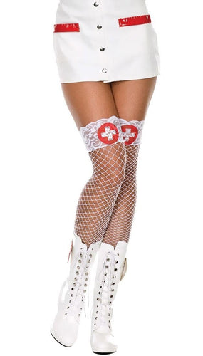 Sexy White Lace Top Fishnet Naughty Nurse Thigh Highs