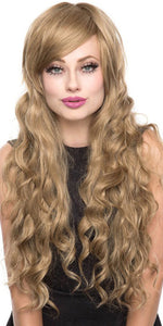 Deluxe Classic Wavy Milk Tea Mix Women's Rockstar Fashion Wig - Front Image