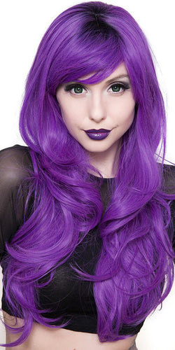 Women's Deluxe Purple Heat Resistant Wavy Fashion Wig - Front Image