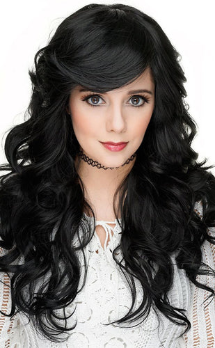 Women's Sexy Black Curly Heat Resistant Fashion Wig - Front Image