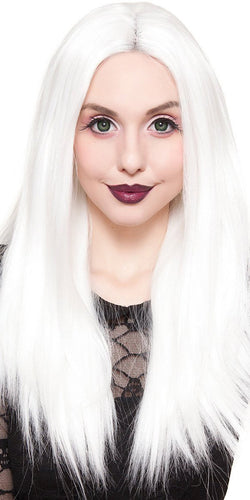 Deluxe White Platinum Blonde Women's Lace Front Fashion Wig - Front Image