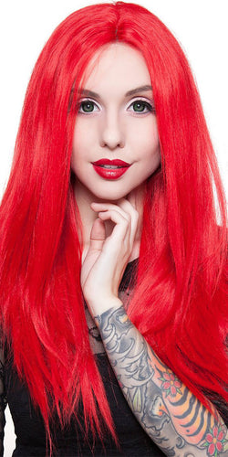 Deluxe Bright Red Women's Lace Front Heat Resistant Fashion Wig - Front Image