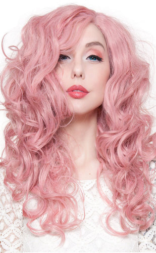 Pastel Pink Women's 22 Inch Curly Deluxe Rockstar Wig - Front Image
