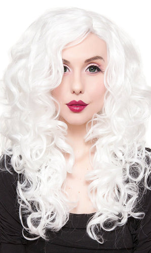 Women's Sexy White Lace Front Curly 22 Inch Rockstar Wig - Front Image