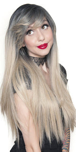 Women's Heat Resistant Deluxe Blonde Fashion Wig with Dark Roots - Front Image