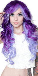Women's Purple 3 Layered Deluxe Curly Fashion Wig - Front Image