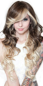 Blonde and Brown Layered Women's Deluxe Curly Rockstar Fashion Wig - Front Image