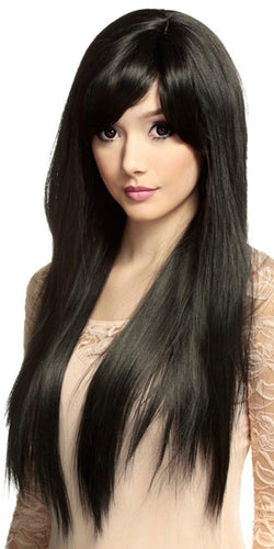 Women's Deluxe Long Straight Black Heat Resistant Rockstar Fashion Wig - Front Image