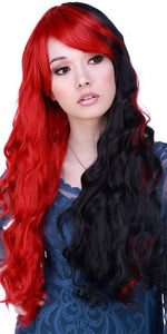 Women's Deluxe Red and Black Split Wavy Fashion Wig - Front Image