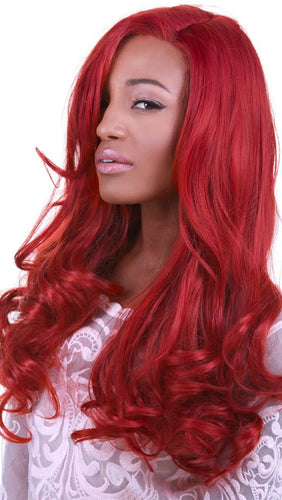 Curly Bright Red Women's Lace Front Rockstar Fashion Wig - Front Image