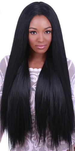 Deluxe Women's Black Lace Front Heat Resistant Fashion Wig - Front Image
