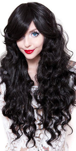Women's Sexy Black Wavy Heat Resistant Fashion Wig - Front Image