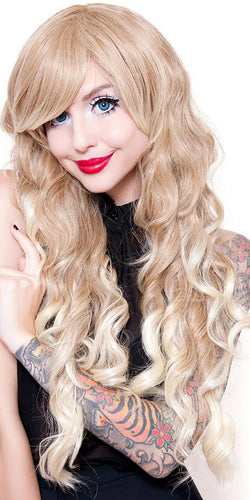 Women's Deluxe Long Curly Blonde Ombre Fashion Wig - Front Image