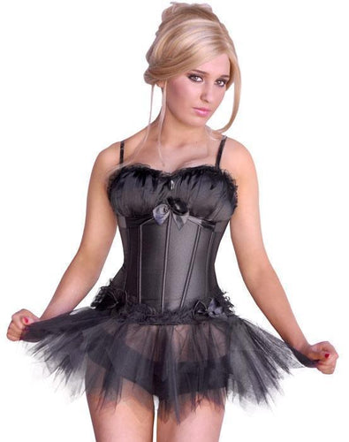 Bow Corset in Black Satin