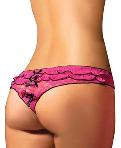 Ruffled Lace G-String in Pink