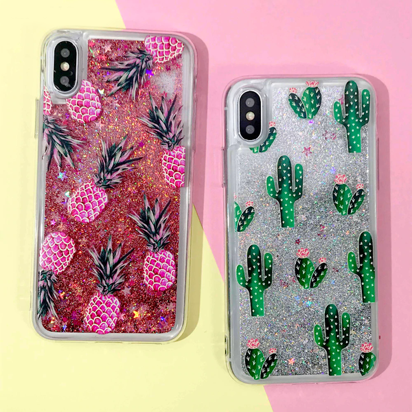 Pineapple & Cactus Quicksand iPhone Case