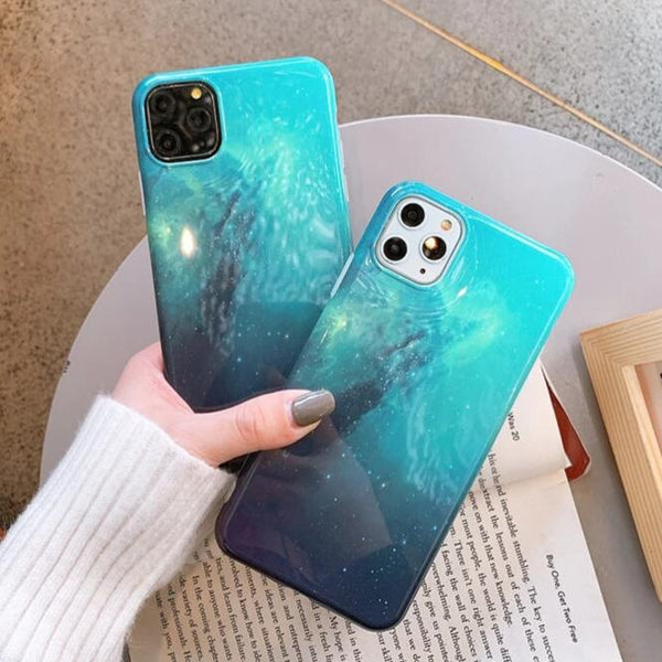 Blue Nebula Glossy iPhone Case