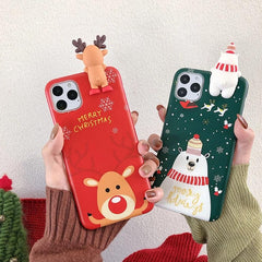 Christmas Deer & Snowman 3D iPhone Case