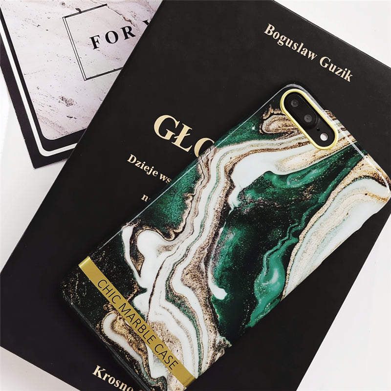Retro Green Marble iPhone Case