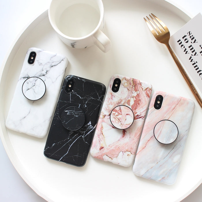 iphone xr case with pop socket marble