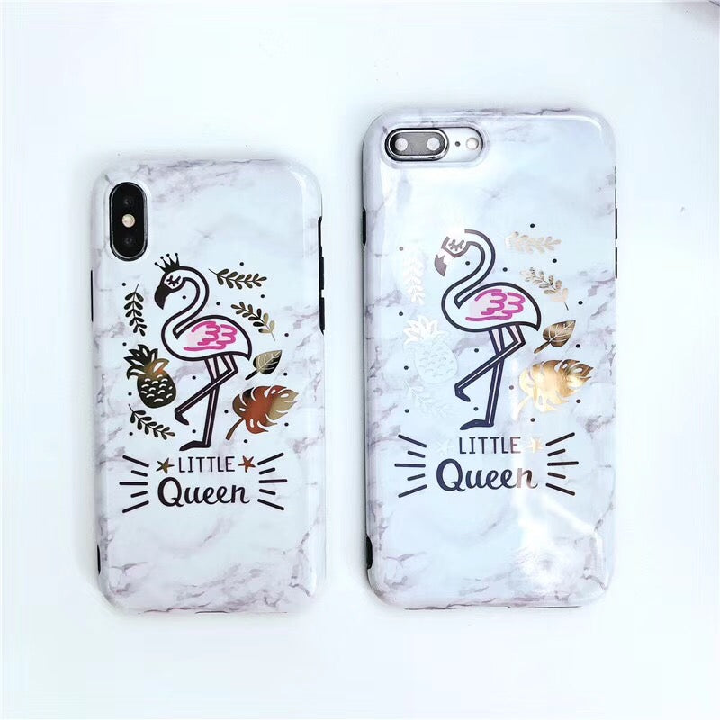 Little Queen Flamingo Marble iPhone Case