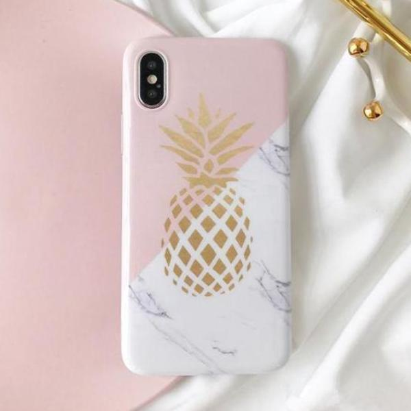 Golden Pineapple Marble iPhone Case