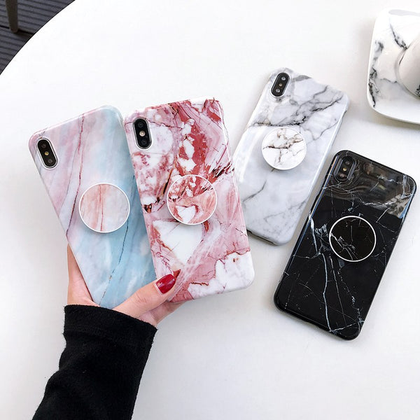 Glossy Marble + PopSocket Holder iPhone Case