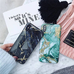 Black & Green Hard Marble iPhone Case