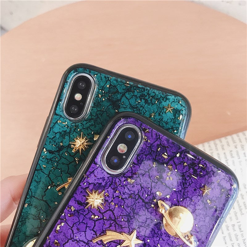 3D Purple & Green Space iPhone Case