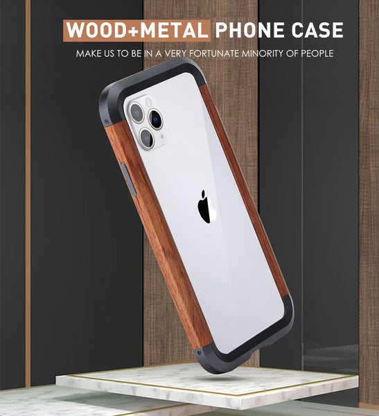 Aluminum Metal + Wood Bumper iPhone Case