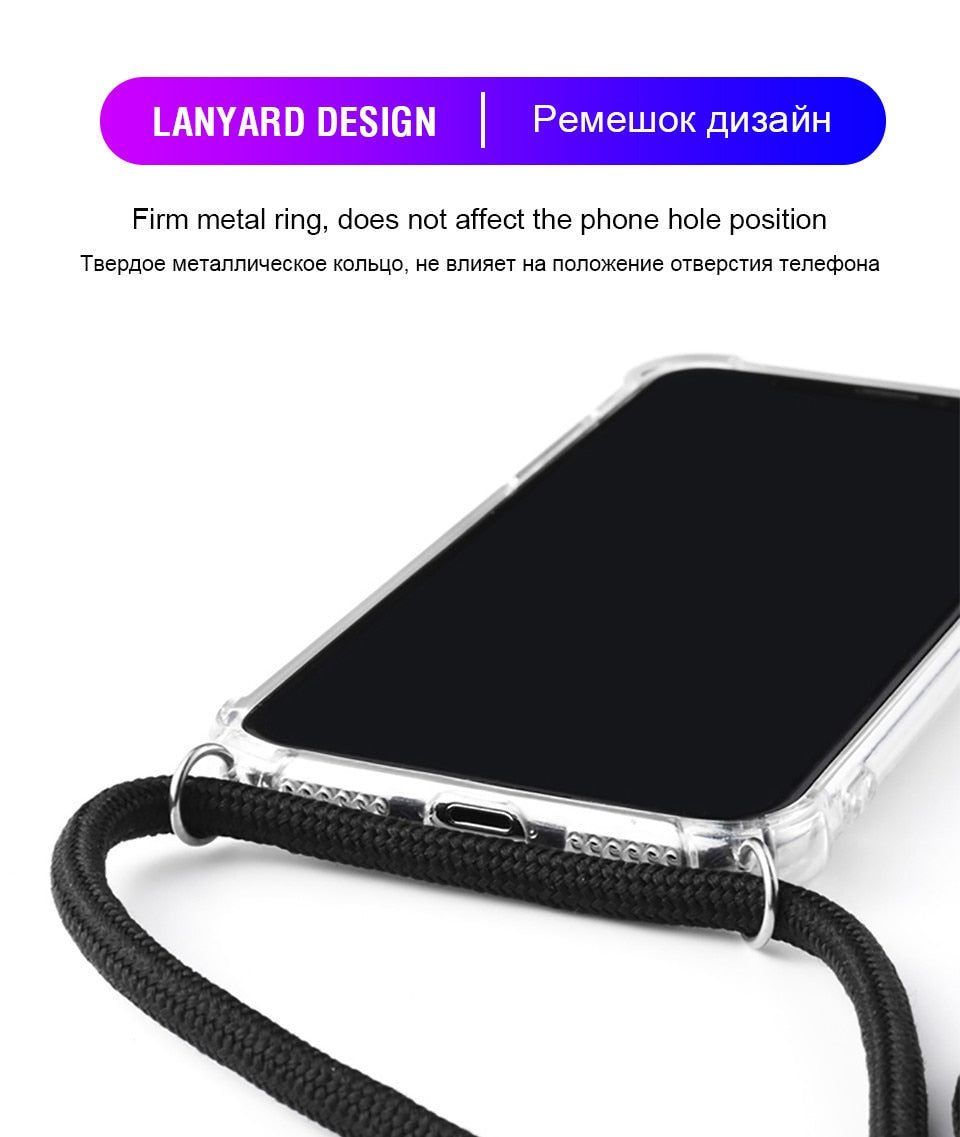 Anti-Knock Transparent Crossbody iPhone Case