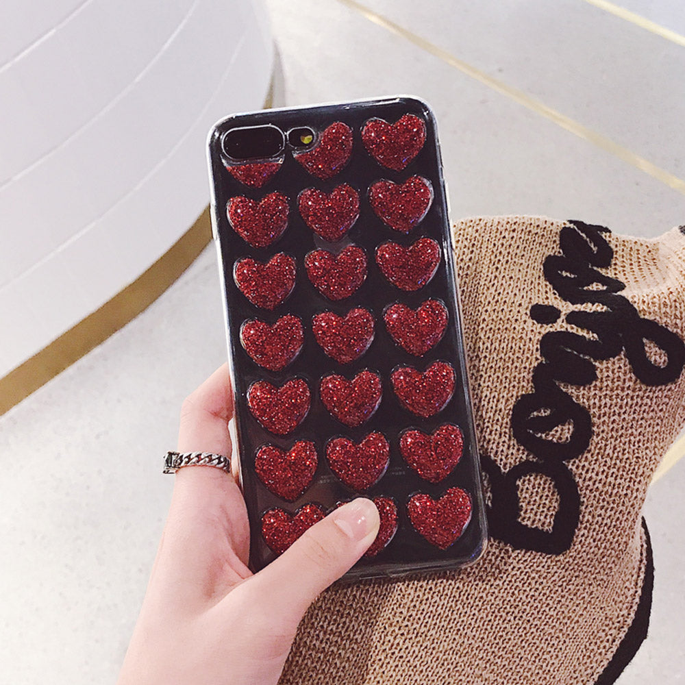 Love Heart Glitter Transparent iPhone Case