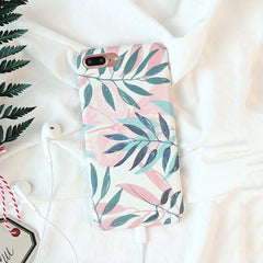 White Floral Leaf iPhone Case