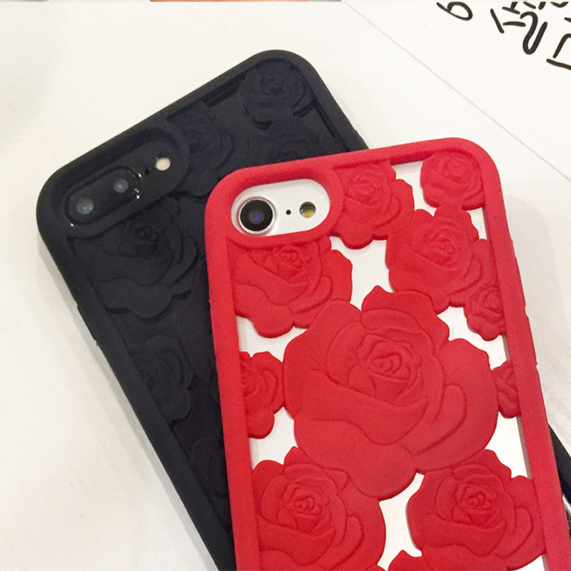 3D Hollow Rose iPhone Case