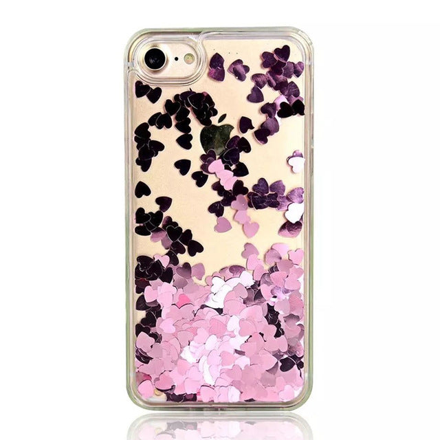 Transparent Heart Quicksand iPhone Case