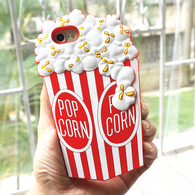 3D Popcorn Soft Silicone iPhone Case