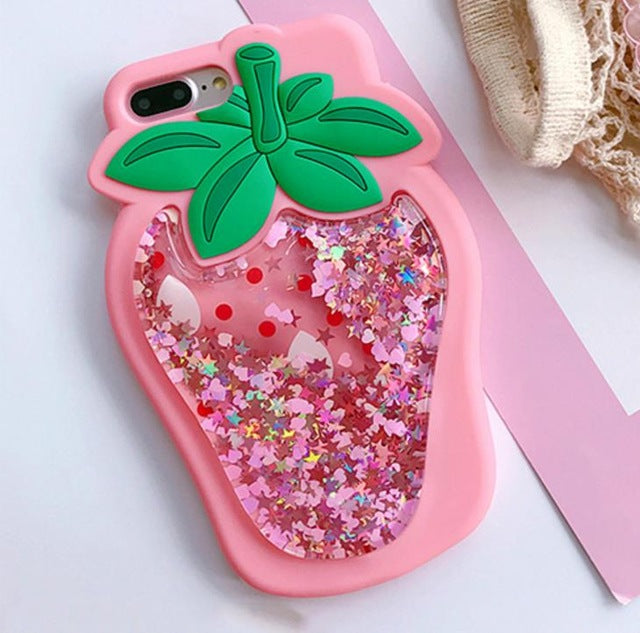 Strawberry Liquid Quicksand 3D iPhone Case