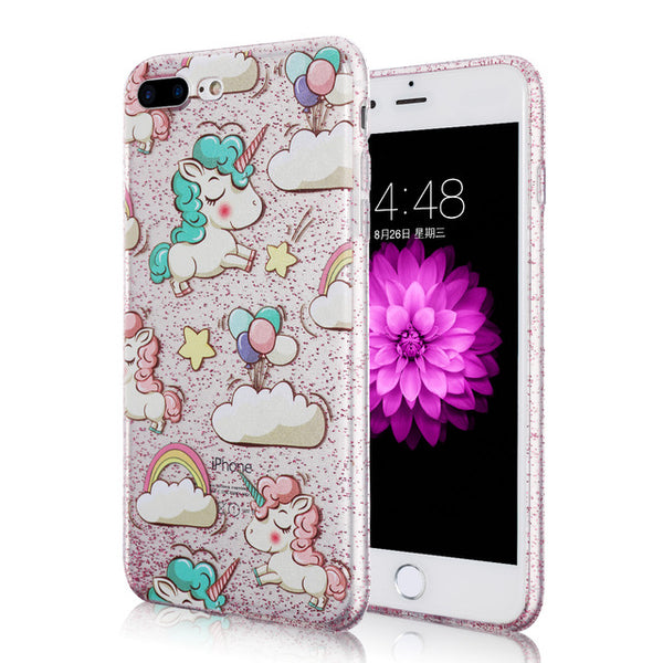 Glitter Cute Cartoon Unicorn iPhone Case