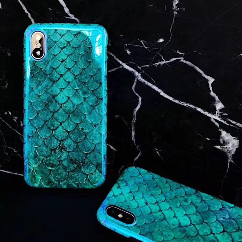 Laser Blue Fish Scale iPhone Case