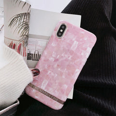 Pink Plaid Marble iPhone Case