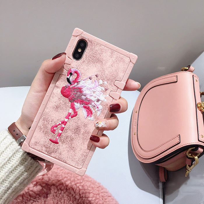Embroidery Flamingo Pink iPhone Case