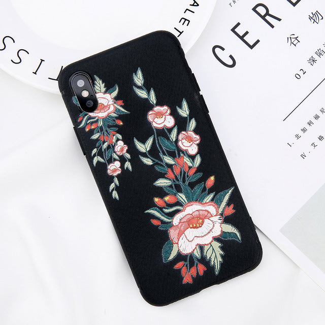 Embroidery Flower Bee Butterfly iPhone Case