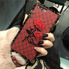 Embroidery Rose Square iPhone Case