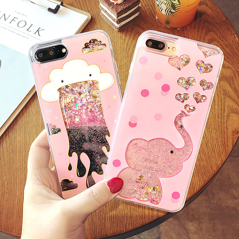 Cartoon Cloud Elephant Quicksand iPhone Case