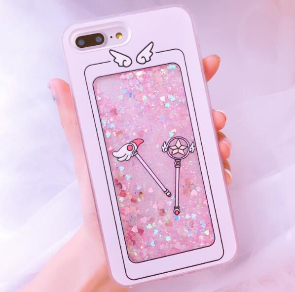 Smiley Magic Wand Quicksand Glitter iPhone Case