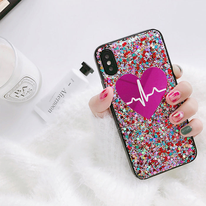 Crystal Glitter Heart iPhone Case